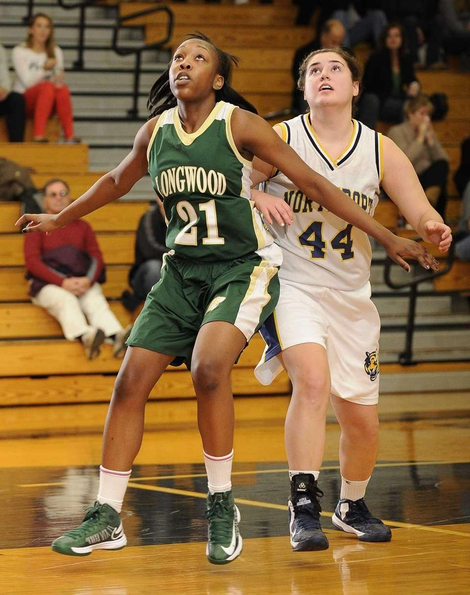 Longwood's D. Bowley-Williams tries to box out Northport's