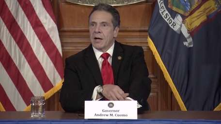 Gov. Andrew Cuomo speaks at a press briefing