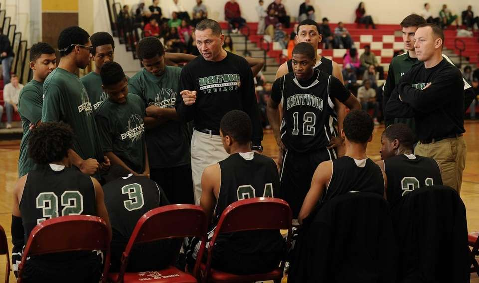 Brentwood head coach Anthony Jimenez directs his players