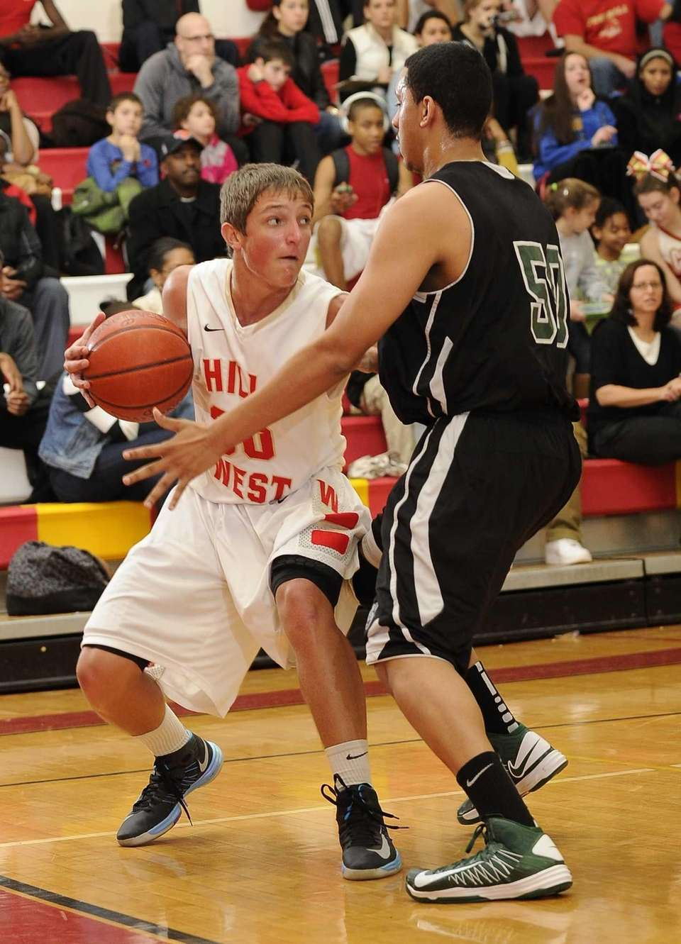 Brentwood's Michael Certain guards Half Hollow Hills West's