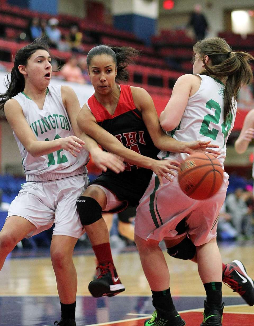 Lutheran's Boogie Brozoski gets between Irvington defenders during