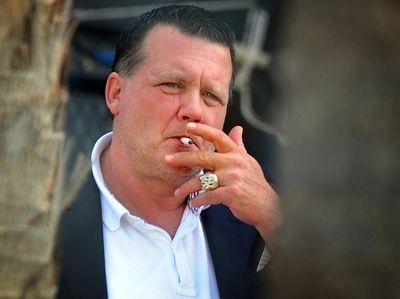New York Yankees owner Hank Steinbrenner outside their