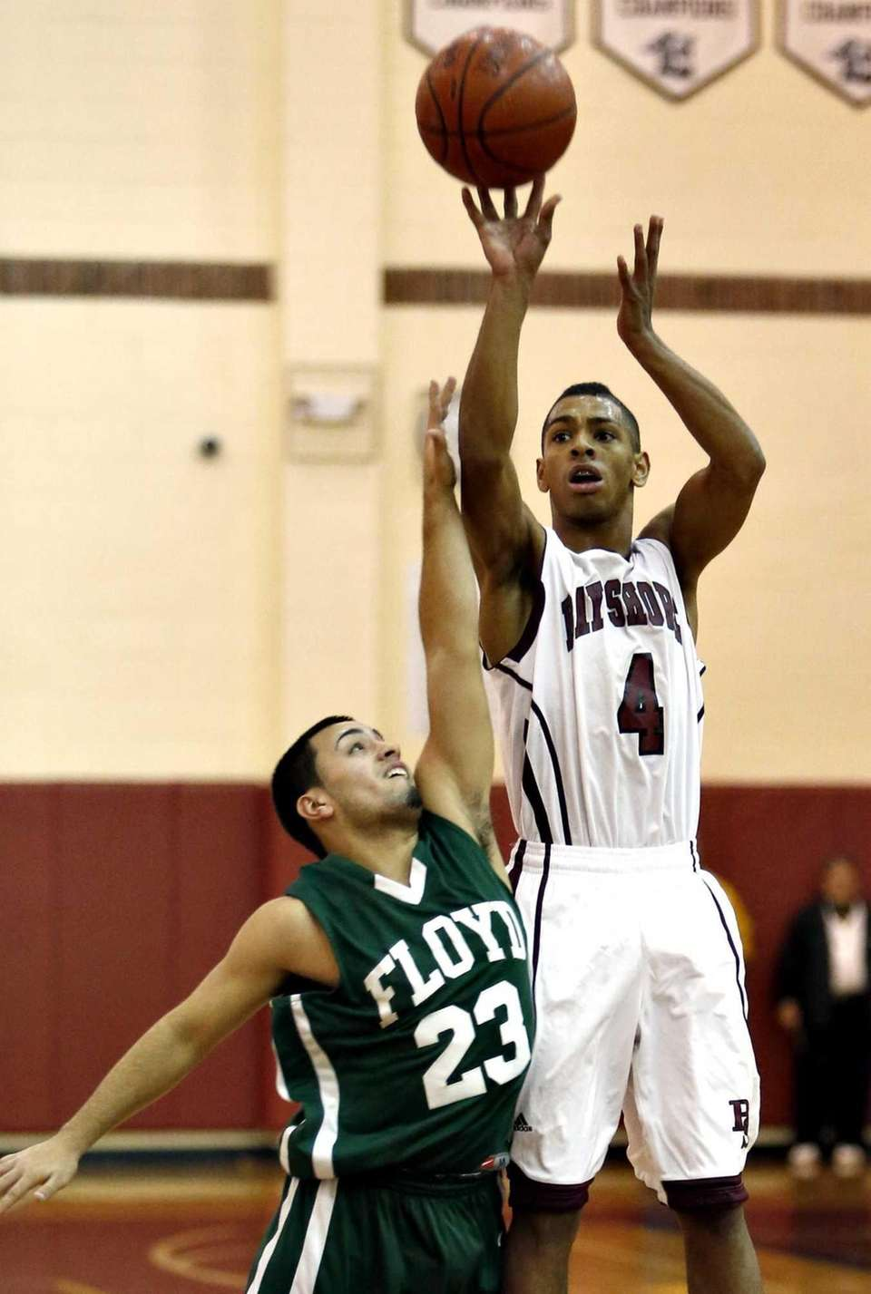 Bay Shore's Bryson Lassitere shoots from three point