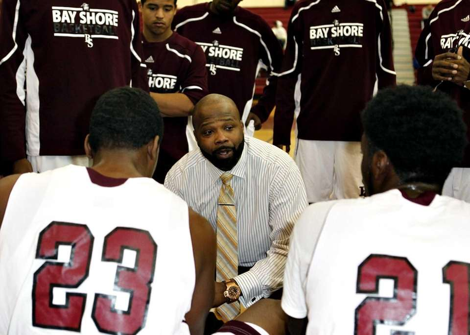 Bay Shore head coach Gary Williams speaks to