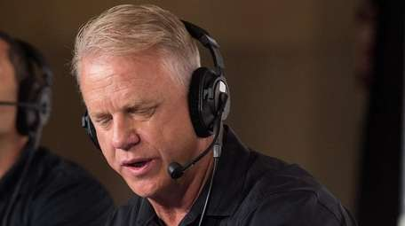 Boomer Esiason, right, during WFAN's 30th anniversary celebration