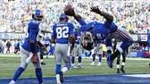 David Wilson celebrates his touchdown in the first