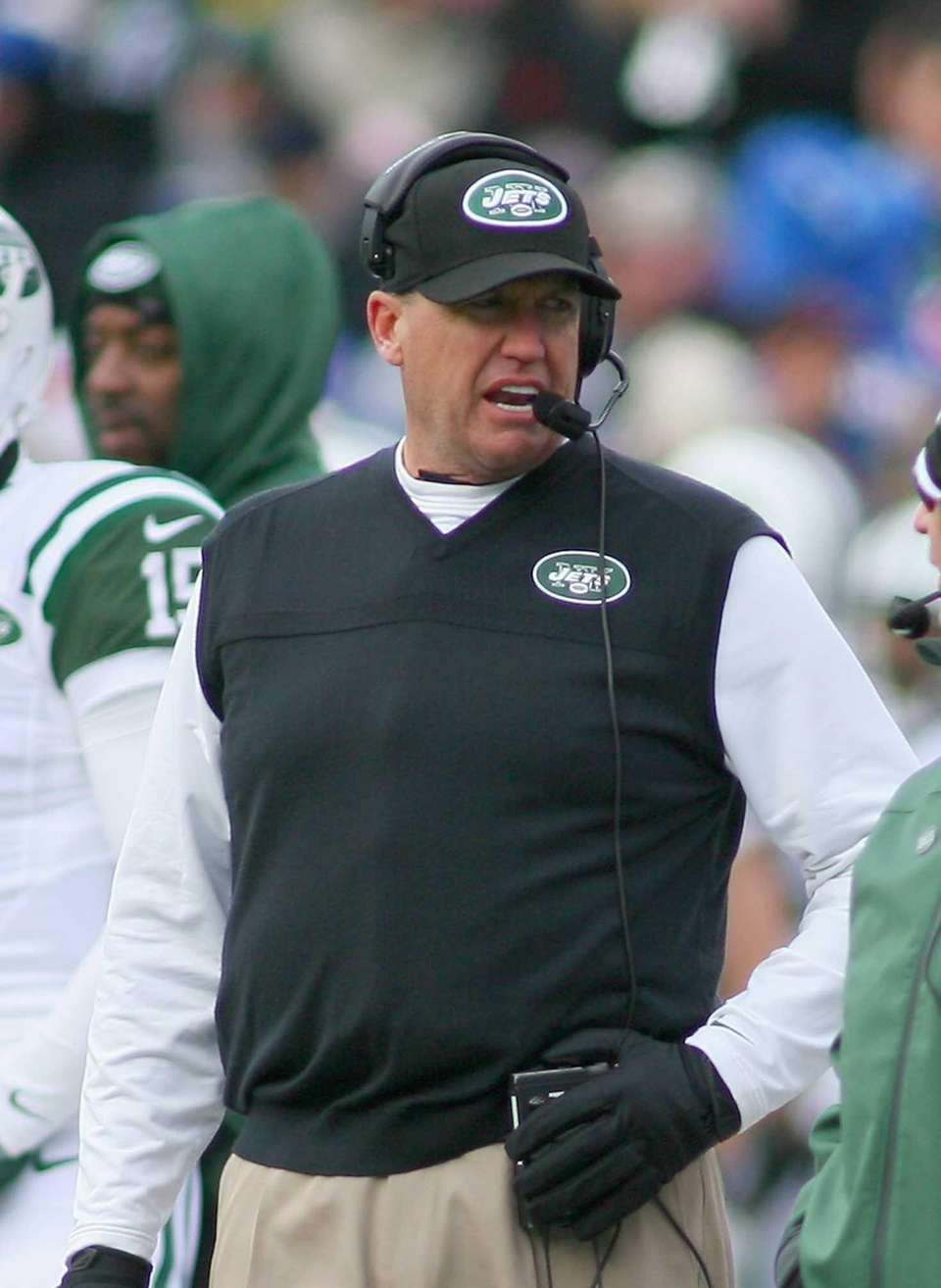 Head coach Rex Ryan of the Jets stands