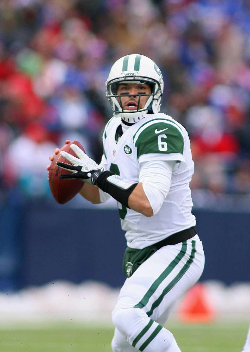 Mark Sanchez of the Jets looks to pass