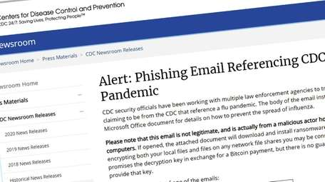 Screengrab shows the CDC Newsroom webpage alerting of