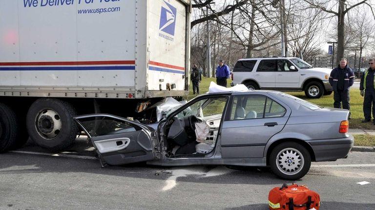 Police say a BMW sedan was dragged about