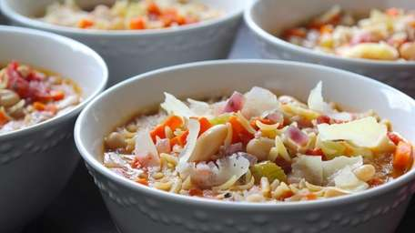 Pasta fagioli, with beans, broth and vegetables make