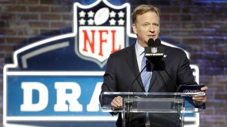 NFL Commissioner Roger Goodell speaks ahead of the