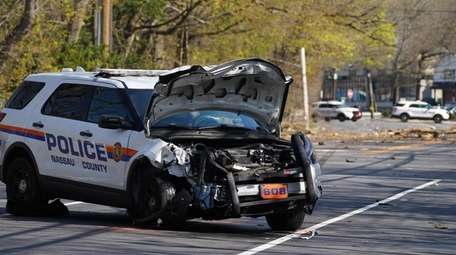 A Nassau County police officer was injured when