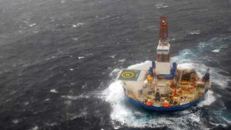 The mobile drilling unit Kulluk is towed toward