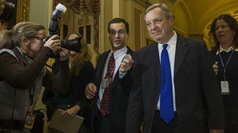 U.S. Sen. Dick Durban (D-Il) walks in the