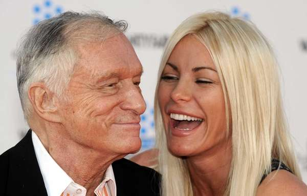 Playboy magazine founder Hugh Hefner arrives with fiancee