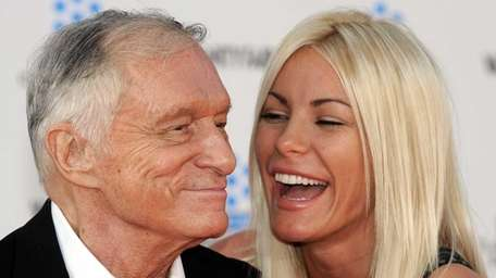 Playboy magazine founder Hugh Hefner arrives with fiancee