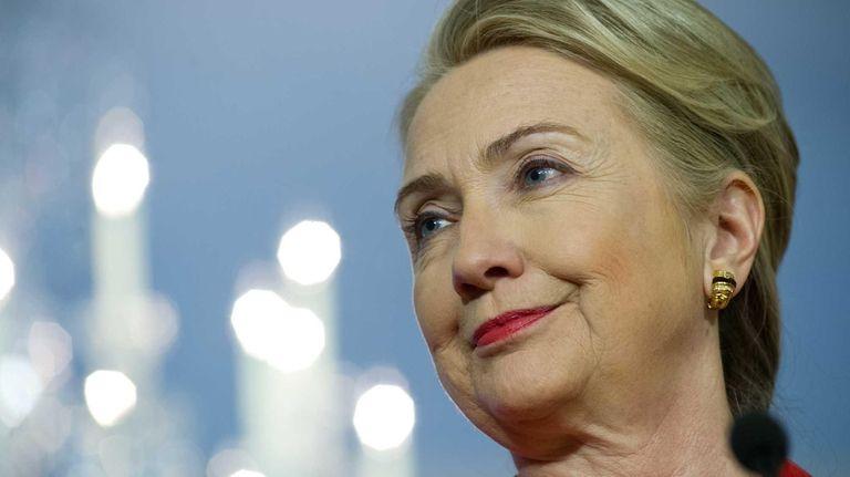 Then-U.S. Secretary of State Hillary Rodham Clinton speaks