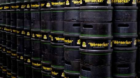 Beer barrels of the Wernecker Brewery are stacked