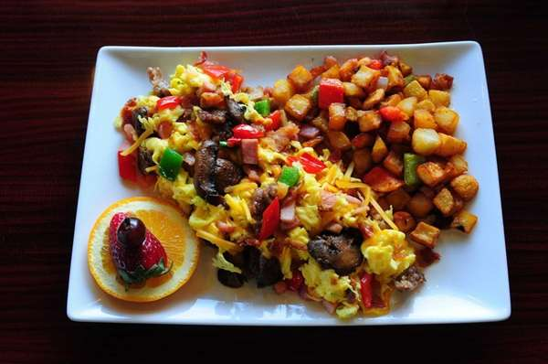 Brownstone's Coffee in Amityville makes a breakfast scramble