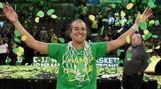 Oregon's Sabrina Ionescu celebrates her team's win over
