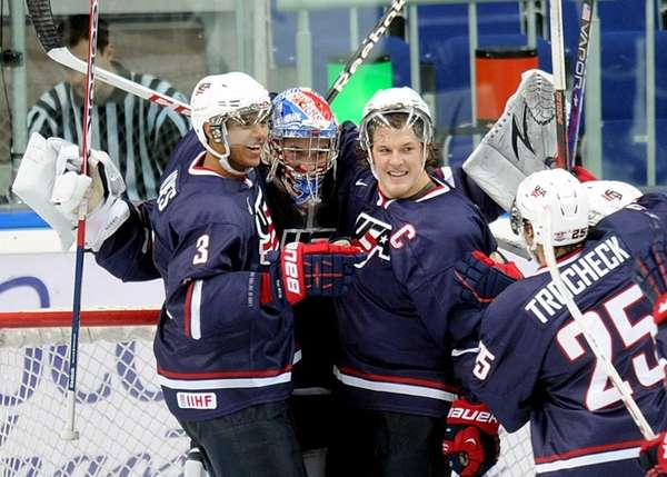 Team USA's players celebrate during a semifinal match