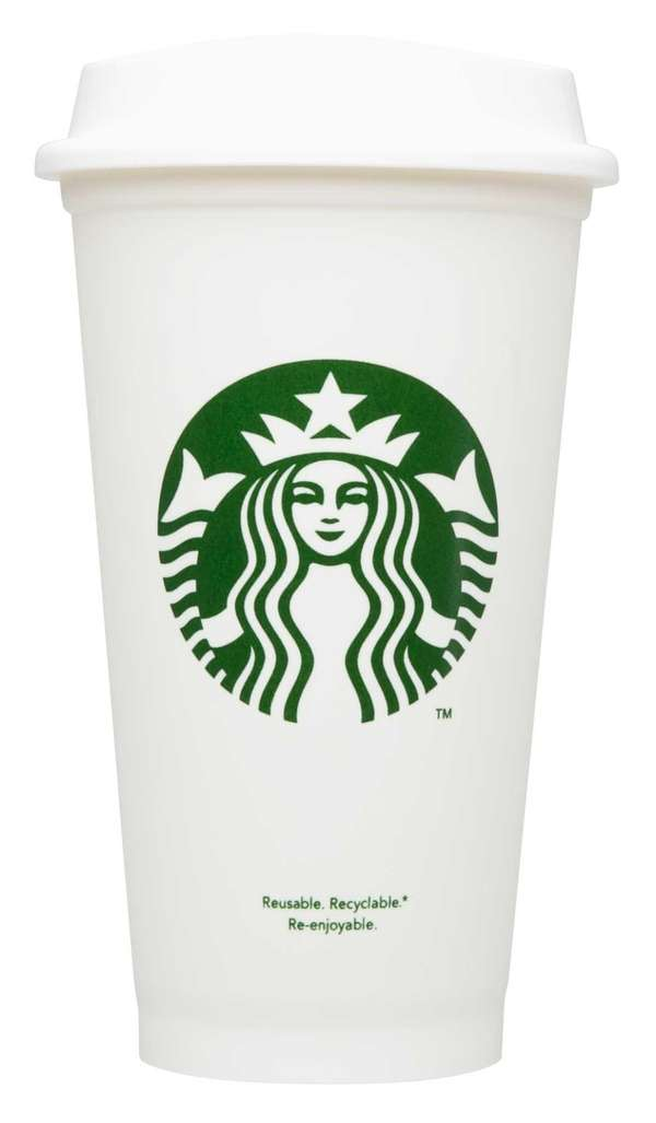 A reusable Starbucks cup.