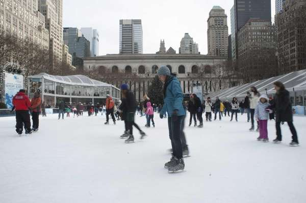 Citi Pond at Bryant Park is surrounded by