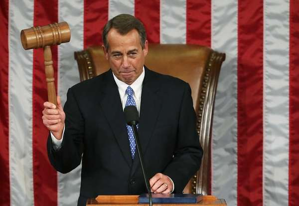 Speaker of the House John Boehner holds the