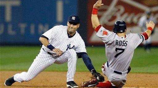 Derek Jeter catches Boston Red Sox outfielder Cody