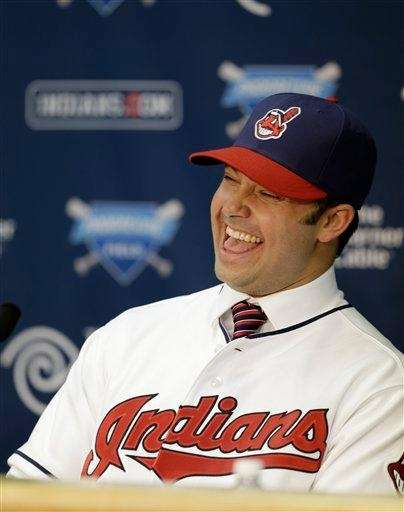 Cleveland Indians outfielder Nick Swisher answers questions during