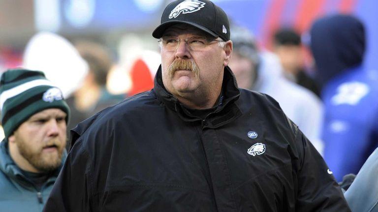 Philadelphia Eagles head coach Andy Reid walks on