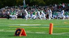 A high school football game between Farmingdale and