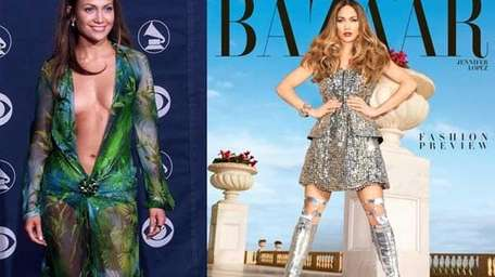 Jennifer Lopez wore a Versace gown at the