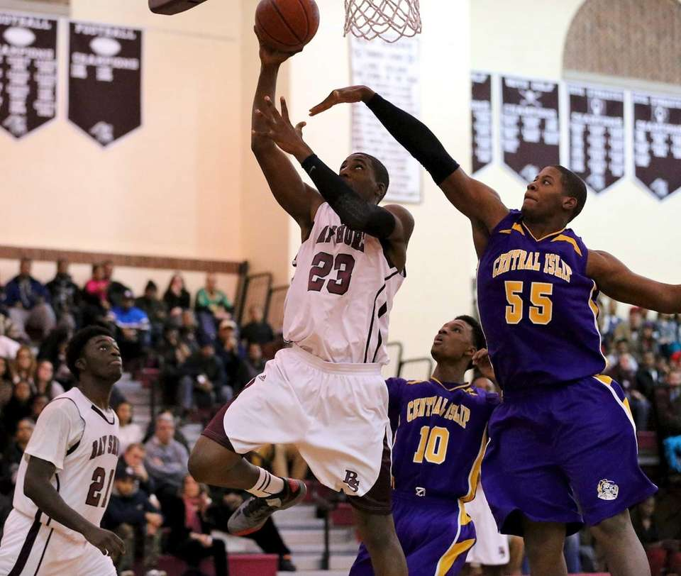 Bay Shore's Gerrell Irvin gets the shot off