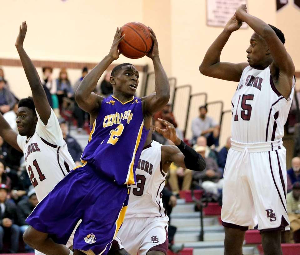 Central Islip's Tim McKenzie drives the baseline for