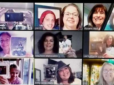 A Zoom meeting of The Beading Hearts support