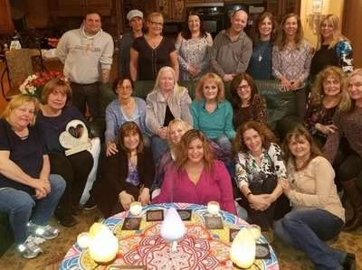 Members of The Beading Hearts organization gather at