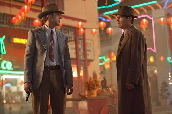 Ryan Gosling (left) and Josh Brolin in quot;Gangster