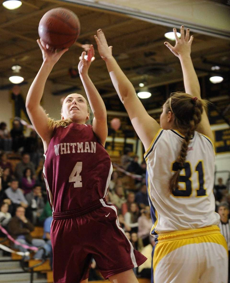 Whitman's Kelly Bilodeau shoots from under the basket