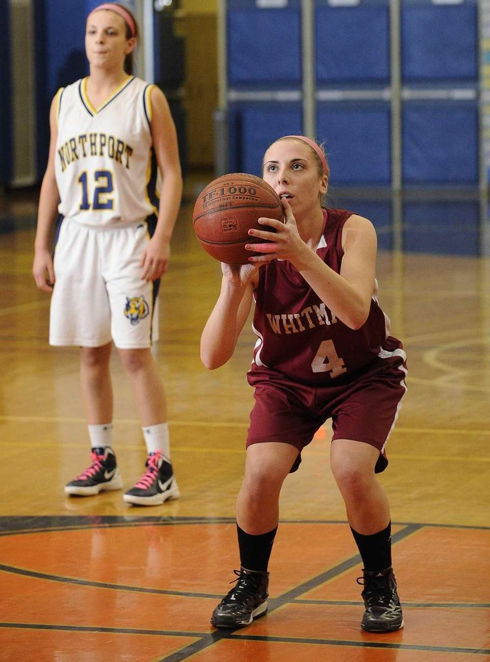 Whitman's Kelly Bilodeau shoots a foul shot against