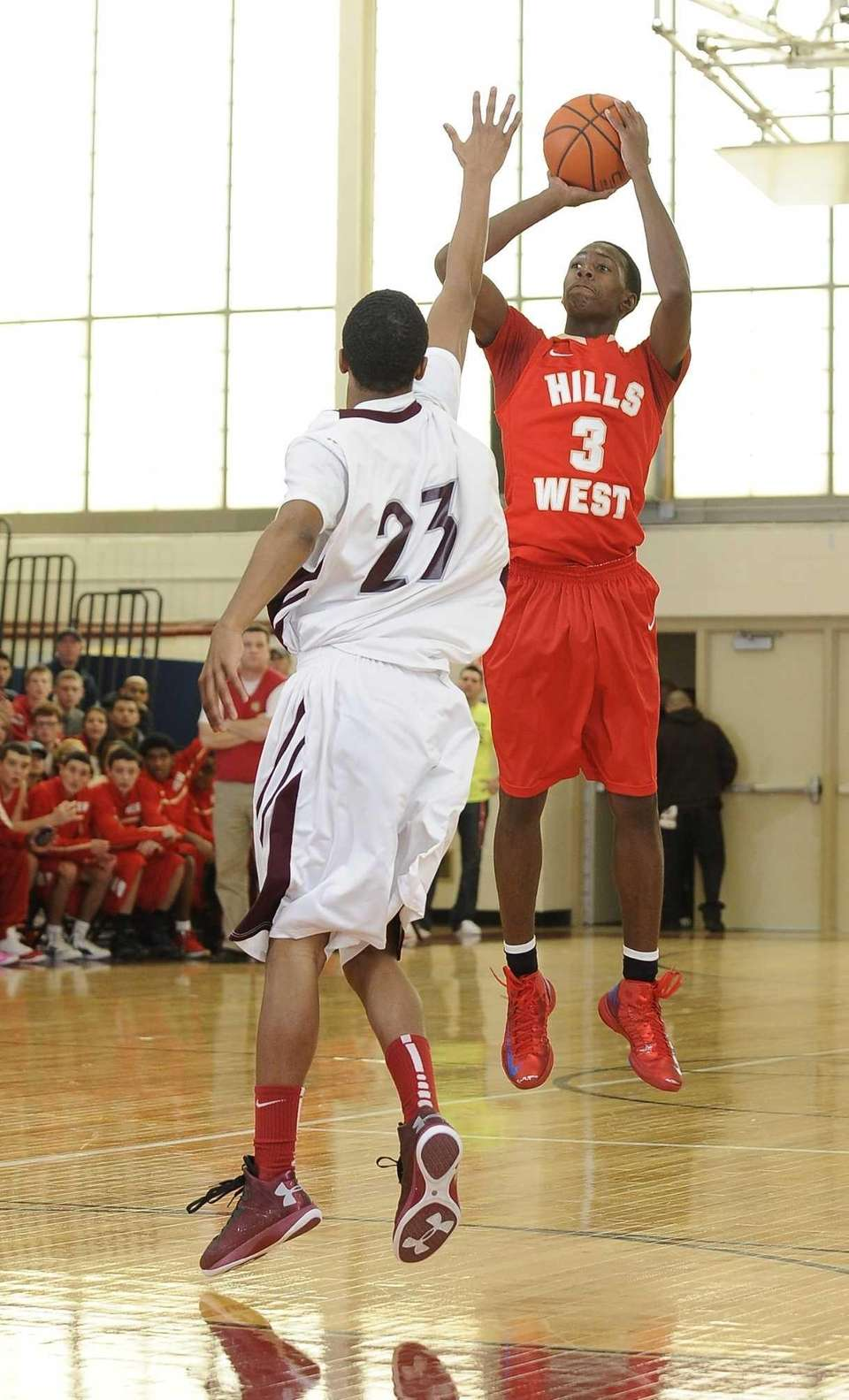 Half Hollow Hills West's Marcus Solomon scores three