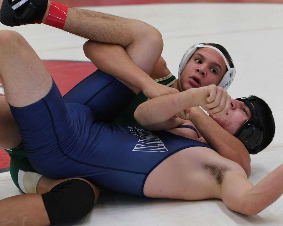 Corey Rasheed (green singlet) from Longwood pins Nick