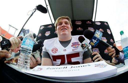 Alabama's Barrett Jones answers a question during Media