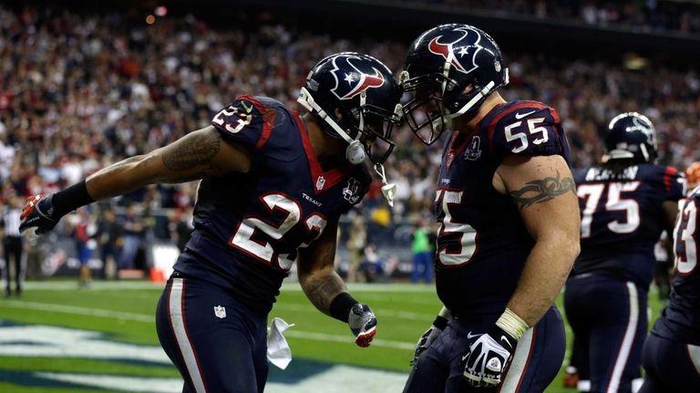 From left, Houston Texans running back Arian Foster