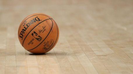 A general view of an NBA basketball at