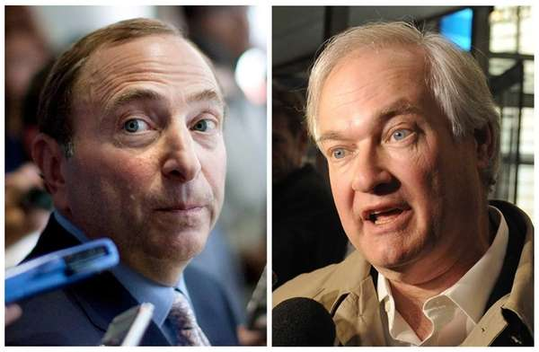This photo combo shows NHL Commissioner Gary Bettman,