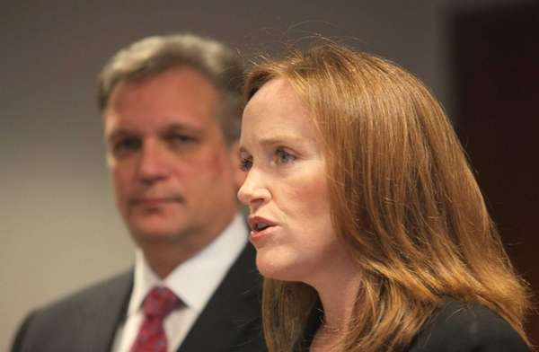 Nassau District Attorney Kathleen Rice speaks at a
