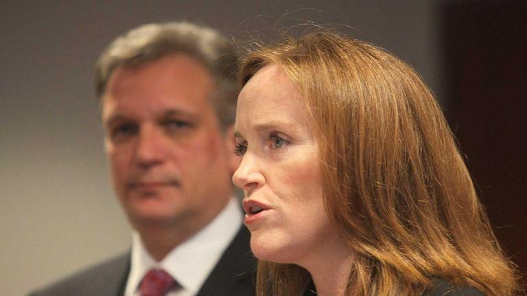 Nassau District Attorney Kathleen Rice speaks at a