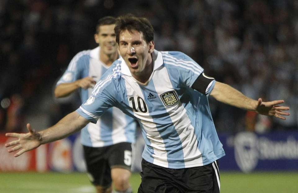 Argentina's Lionel Messi celebrates after scoring against Uruguay